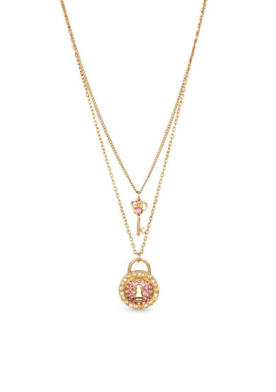 Betsey Johnson® Gold-Tone Pave Lock & Key Double Pendant Necklace in a Betsey Johnson Gift Box