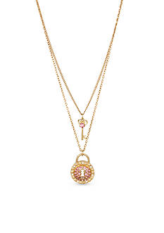 Gold-Tone Pave Lock & Key Double Pendant Necklace in a Betsey Johnson Gift Box