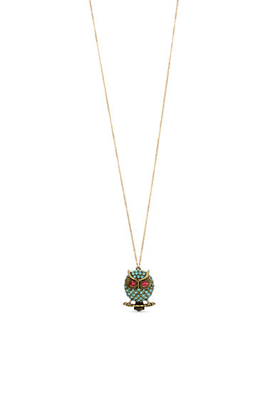 Brass Ox-Tone Faceted Stone Owl Pendant Long Necklace in a Betsey Johnson Gift Box