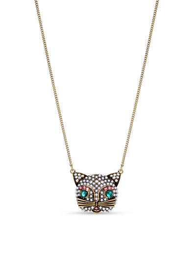 Betsey Johnson Brass-Tone Pearl Cat Pendant Necklace