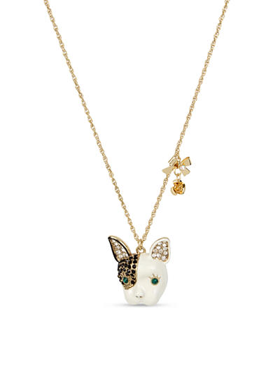 Betsey Johnson Gold-Tone French Bulldog Pendant Necklace in a Betsey Johnson Gift Box