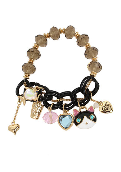 Betsey Johnson Gold-Tone Cat & Fish Multi Charm Half Stretch Bracelet in a Betsey Johnson Gift Box