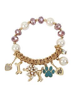 Betsey Johnson Gold-Tone Pearl Dog Multi Charm Half Stretch Bracelet