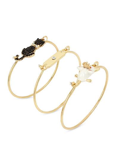 Betsey Johnson Gold-Tone Cat and Mouse Wire Bangle Bracelet Set