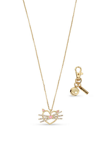 Betsey Johnson Gold-Tone Cat Pendant Necklace & Ball Charm Set