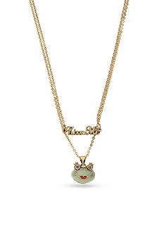 Betsey Johnson Gold-Tone Cubic Zirconia Kiss Me Frog Double Strand Necklace