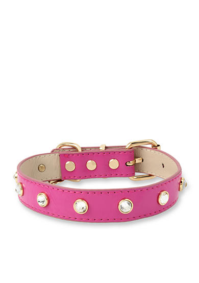 Betsey Johnson Gold-Tone Pink Dog Collar