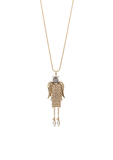Betsey Johnson Gold-Tone Mesh Angel Pendant Long Necklace