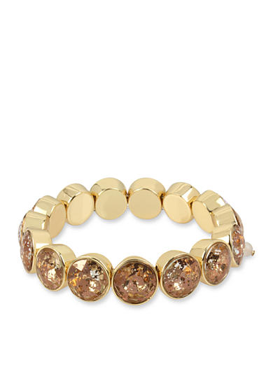 Betsey Johnson Gold-Tone Patina Faceted Stone Stretch Bracelet