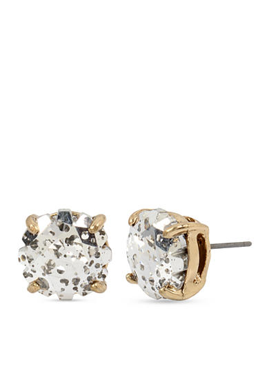 Betsey Johnson Gold-Tone Patina Faceted Stone Stud Earrings