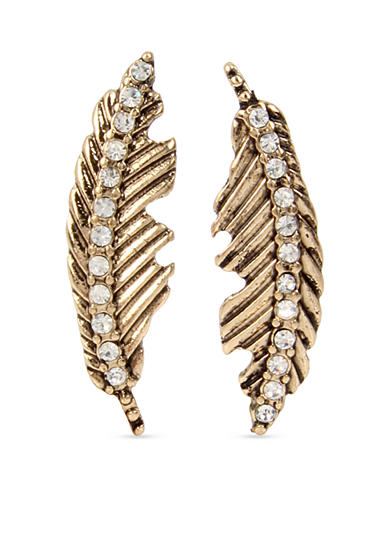 Betsey Johnson Gold-Tone Feather Mismatch Drop Earrings