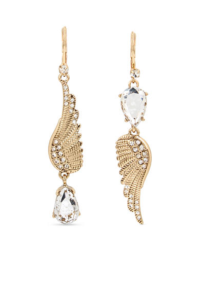 Betsey Johnson Gold-Tone Feather & Patina Faceted Stone Mismatch Drop Earrings