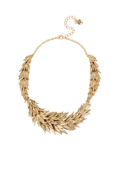 Betsey Johnson Gold-Tone Layered Feather Collar Necklace