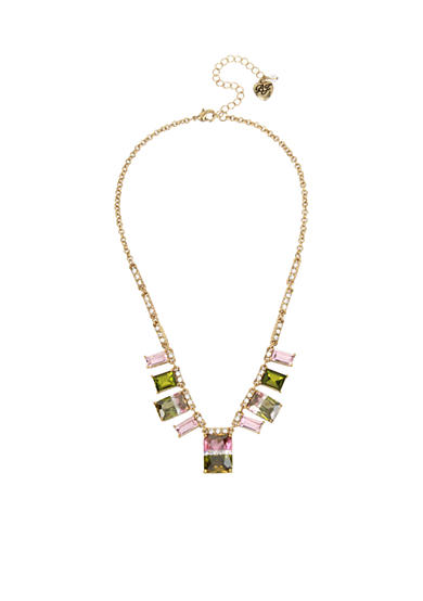 Betsey Johnson Gold-Tone Tourmaline Faceted Stone Frontal Necklace