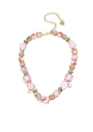 Betsey Johnson® Gold-Tone Mixed Faceted Stone & Flower Collar Necklace
