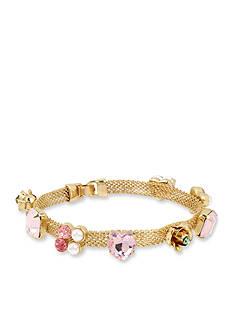 Betsey Johnson Gold-Tone Mixed Multi Charm Mesh Bracelet