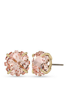 Betsey Johnson Gold-Tone Pink Faceted Stone Stud Earrings