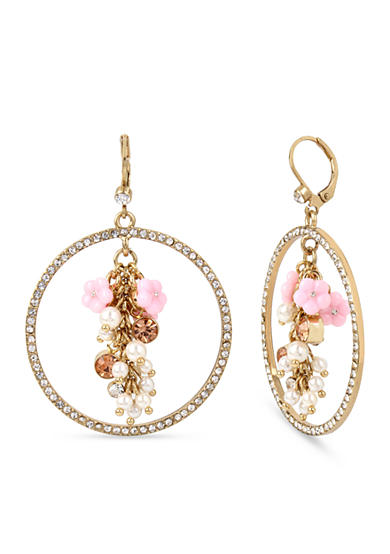 Betsey Johnson Gold-Tone Mixed Multi Charm Cluster Pave Gypsy Hoop Earrings