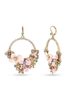 Betsey Johnson Gold-Tone Multi Flower Drama Gypsy Hoop Earrings