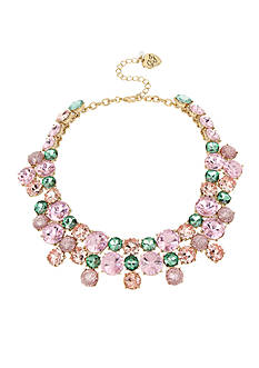 Betsey Johnson Gold-Tone Mixed Faceted Stone Collar Necklace