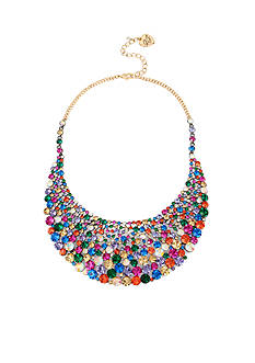Betsey Johnson Gold-Tone Multi-Colored Stone Bib Necklace