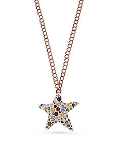 Betsey Johnson Light Copper-Tone Multi-Colored Star Pendant Long Necklace