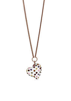 Betsey Johnson Copper-Tone Multi-Colored Stone Heart Pendant Long Necklace