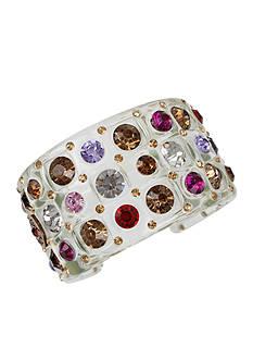 Betsey Johnson Light Copper-Tone Multicolored Stone Lucite Wide Cuff Bracelet