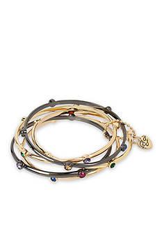 Betsey Johnson Gold-Tone and Hematite-Tone Multicolored Stone Bangle Five-Piece Bracelet Set