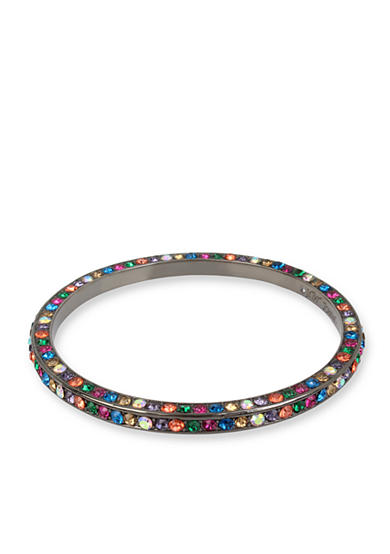 Betsey Johnson Hematite-Tone Multi Pave Hinge Bangle Bracelet