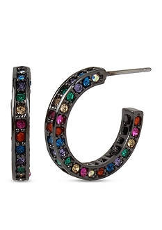 Betsey Johnson Hematite-Tone Pave Multi-Colored Stone Hoop Earrings