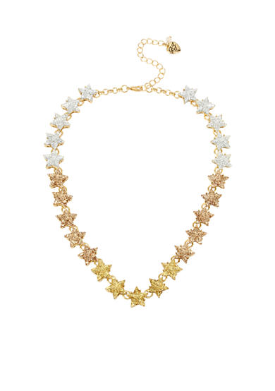 Betsey Johnson Gold-Tone Glitter Star Collar Necklace