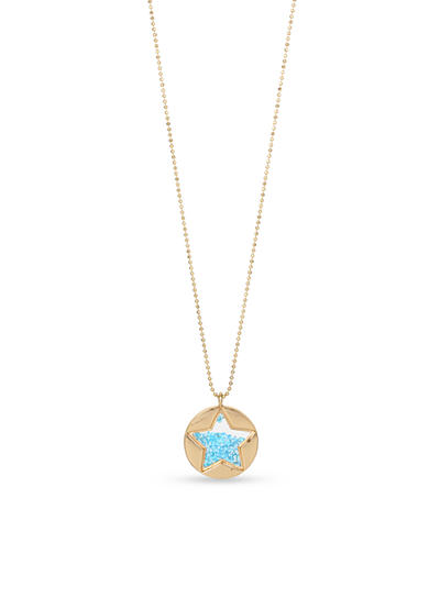 Betsey Johnson Gold-Tone Shaky Faceted Stone Star Round Pendant Long Necklace