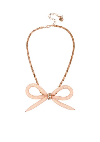 Betsey Johnson Rose Gold-Tone Faceted Stone Filled Mesh Bow Frontal Necklace