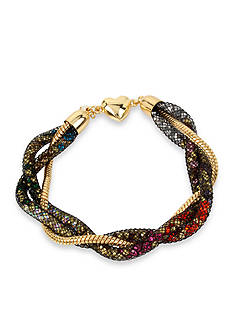 Betsey Johnson Gold-Tone Multicolored Faceted Stone Filled Mesh Braided Bracelet