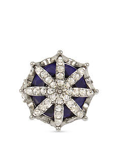 Betsey Johnson Pave Faceted Stone Crown Statement Ring