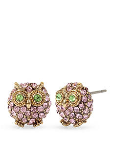 Betsey Johnson Gold-Tone Pave Owl Stud Earrings