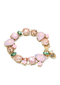 Betsey Johnson Gold-Tone Mixed Faceted Stone & Flower Bracelet