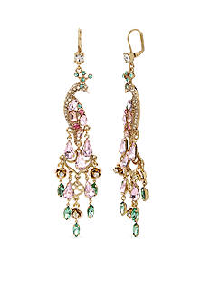 Betsey Johnson Gold-Tone Pave Peacock Drama Chandelier Earrings