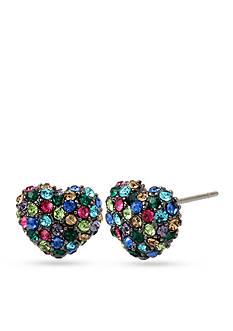 Betsey Johnson Hematite-Tone Multicolored Stone Heart Stud Earrings