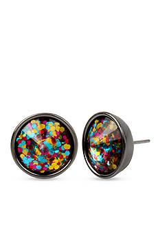 Betsey Johnson Hematite-Tone Multicolored Confetti Round Stud Earrings