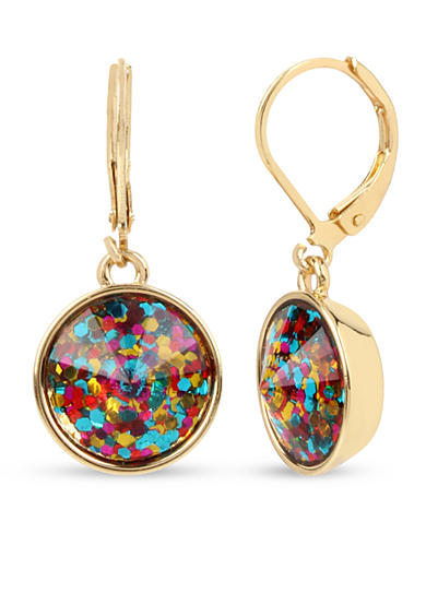 Betsey Johnson Gold-Tone Round Faceted Stone Drop Earrings