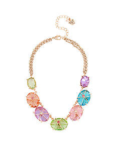 Betsey Johnson Rose Gold-Tone Mixed Stone Collar Necklace