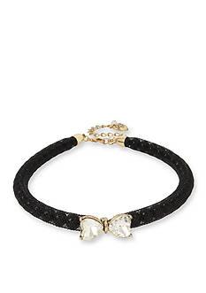 Betsey Johnson Gold-Tone Stone Bow & Pearl Black Mesh Choker Necklace