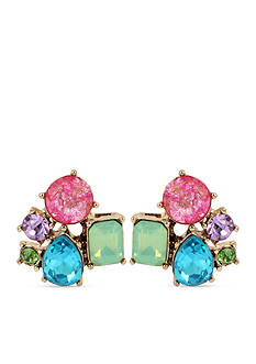 Betsey Johnson Gold-Tone Multi-Colored Stone Cluster Earrings