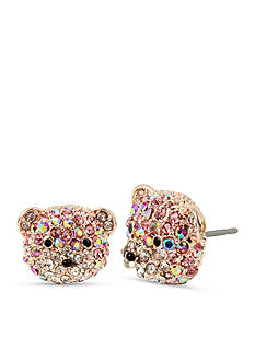 Betsey Johnson Rose Gold-Tone Crystal Bear Stud Earrings
