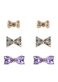 Betsey Johnson Two-Tone Mixed Bow Triple Stud Earrings Set