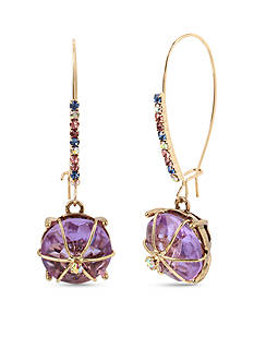 Betsey Johnson Gold-Tone Purple Stone Drop Earrings