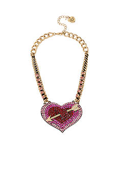 Betsey Johnson Gold-Tone Large Crystal Heart & Arrow Frontal Necklace