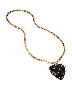 Betsey Johnson Gold-Tone Studded Heart Pendant Long Necklace
